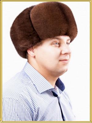 """Норковая шапка ушанка """"Браун"""""""