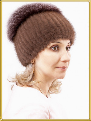 "Норковая шапка с песцом ""Александра"""