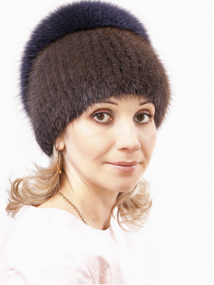 Вязаная шапка из ондатры Дарья