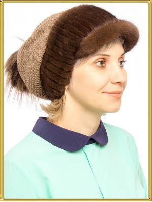 "Вязаная шапка из меха ""Латте"""